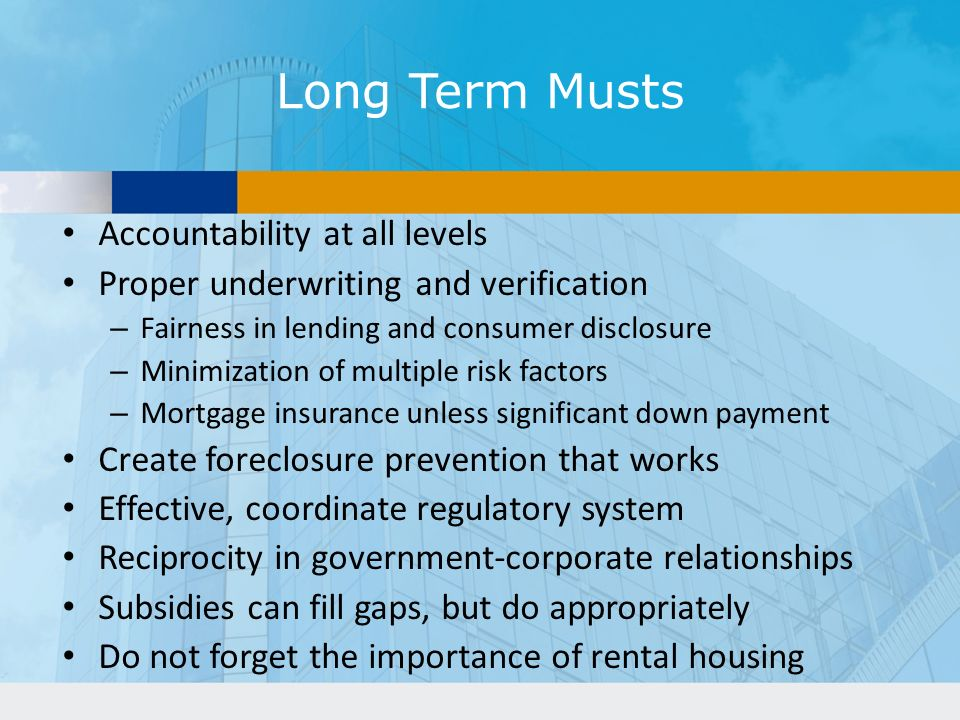 Long Term Musts Accountability at all levels