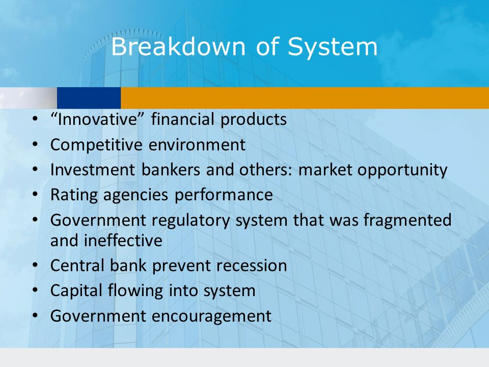 Breakdown of System Innovative financial products