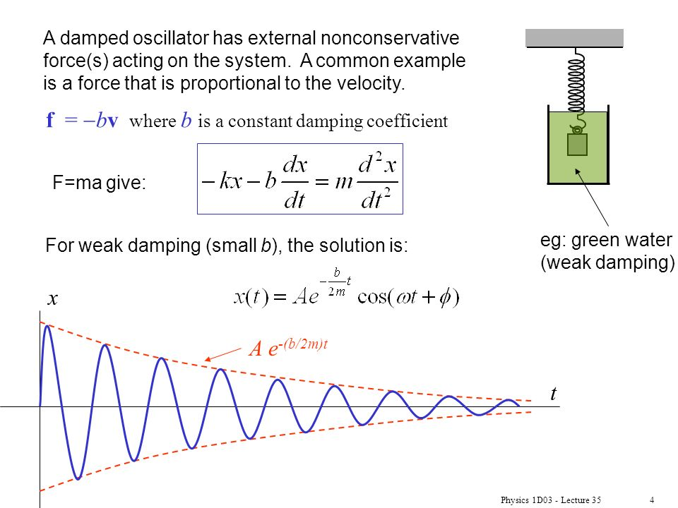 Damped Oscillations (Serway ) Physics 1D03 - Lecture ppt ...