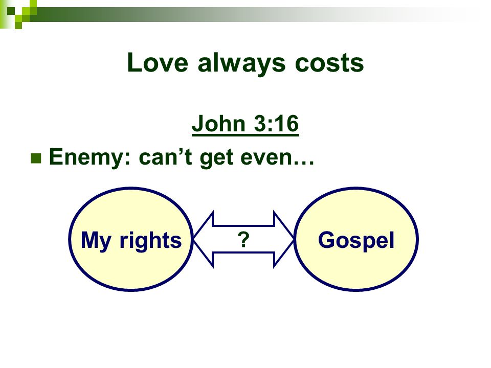 Love always costs John 3:16 Enemy: can't get even… My rights Gospel