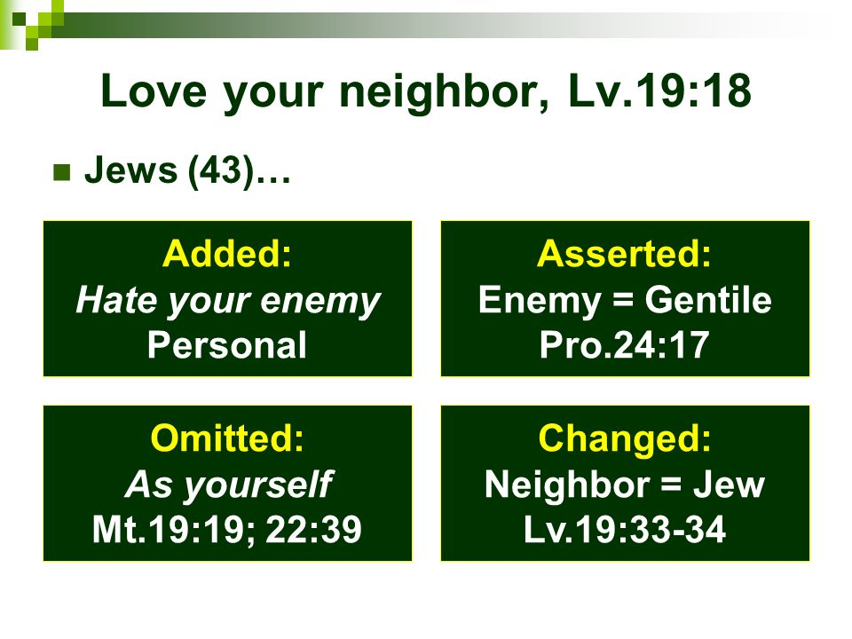 Love your neighbor, Lv.19:18 Jews (43)… Added: Hate your enemy