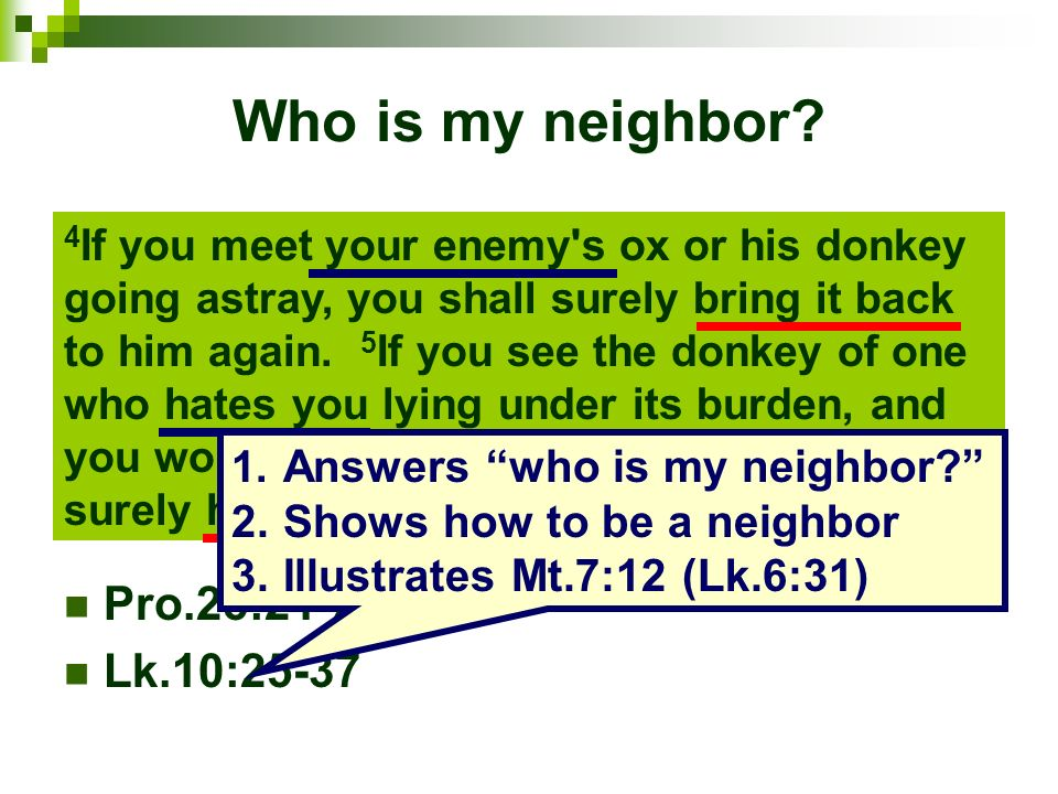 Who is my neighbor Pro.25:21-22 Lk.10:25-37