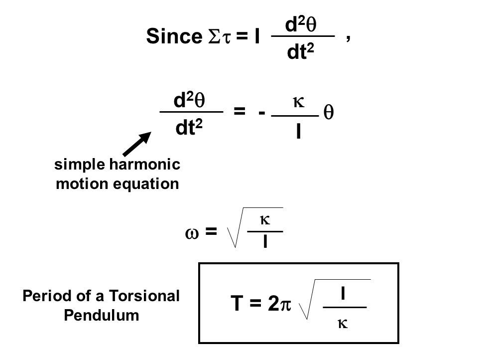 oscillation of torsional pendulum Torsion pendulum hangs in cascade, but off-axis, from the other  considered,  namely swinging and bouncing oscillations of the two.