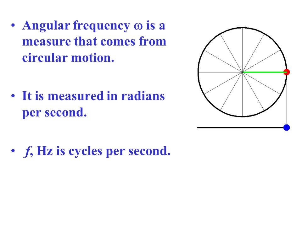 Angular frequency w is a measure that comes from circular motion.