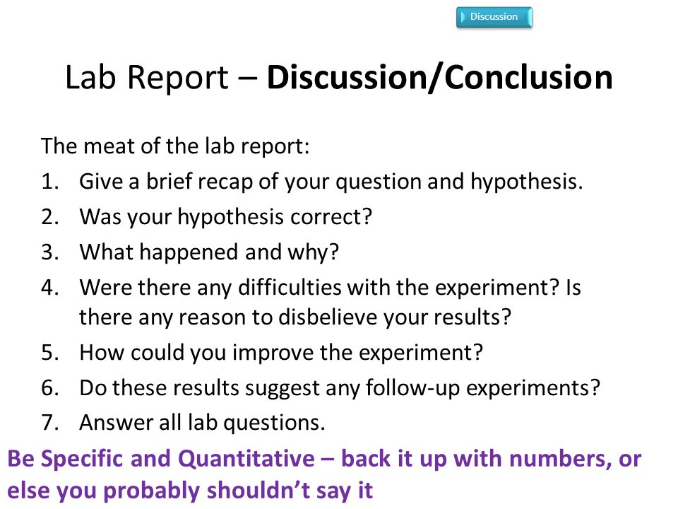 discussion of lab report Title - description of the lab purpose - why lab report terms and parts defined  and a lab report sample a discussion of manometry under the topic of.
