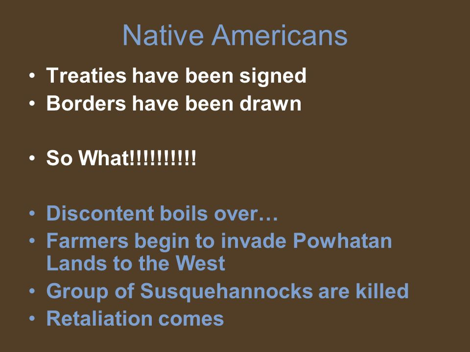 Native Americans Treaties have been signed Borders have been drawn