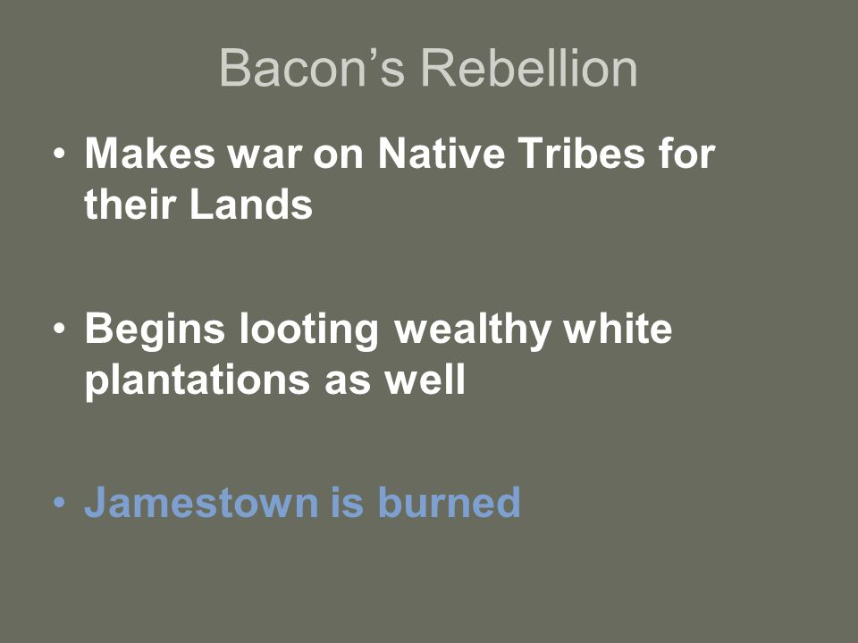 Bacon's Rebellion Makes war on Native Tribes for their Lands