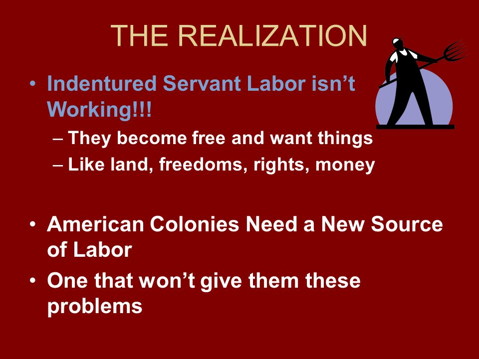 THE REALIZATION Indentured Servant Labor isn't Working!!!