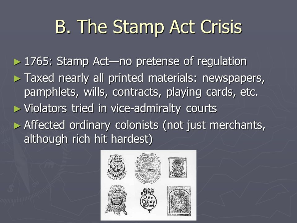 the stamp act crisis The stamp act crisis, 1765-1766, marks the transition in united states history from the colonial era to the era of the american revolution the full narrative of the stamp act includes political, social, economic, and cultural histories on both sides of the atlantic.