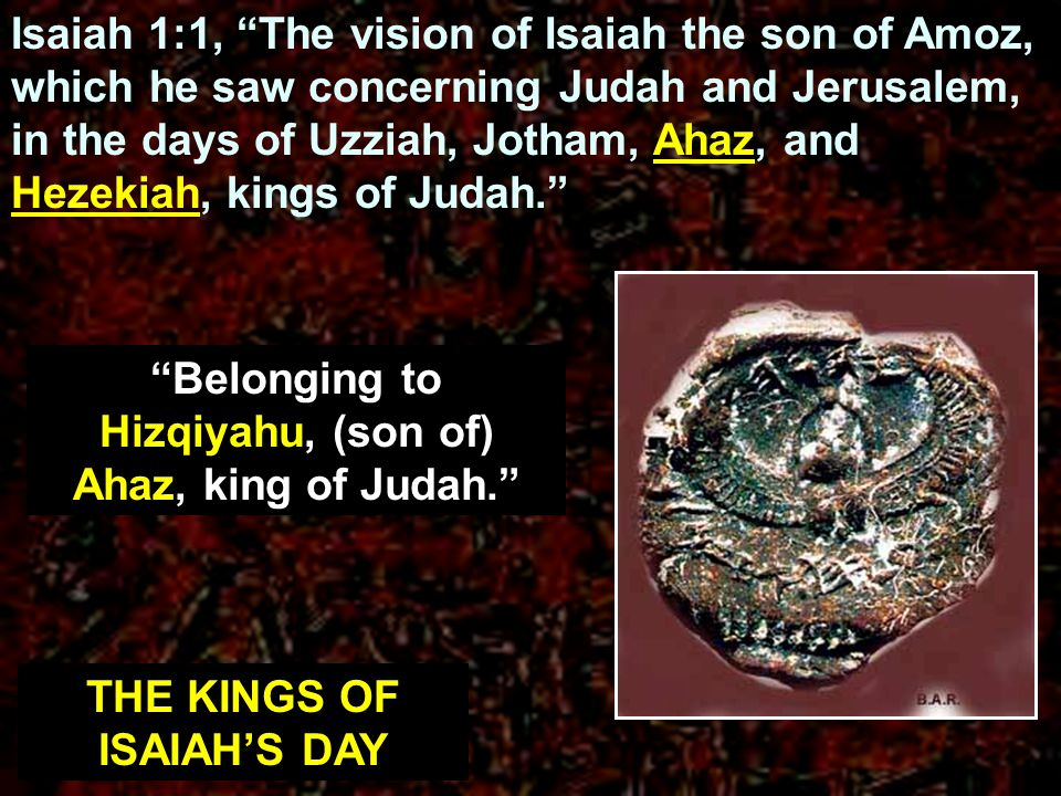Belonging to Hizqiyahu, (son of) Ahaz, king of Judah.