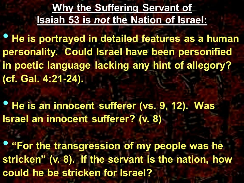 Why the Suffering Servant of Isaiah 53 is not the Nation of Israel: