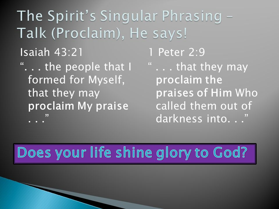 The Spirit's Singular Phrasing – Talk (Proclaim), He says!