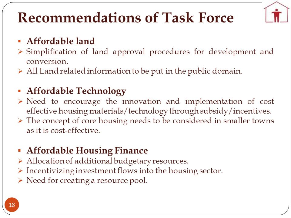 Recommendations of Task Force