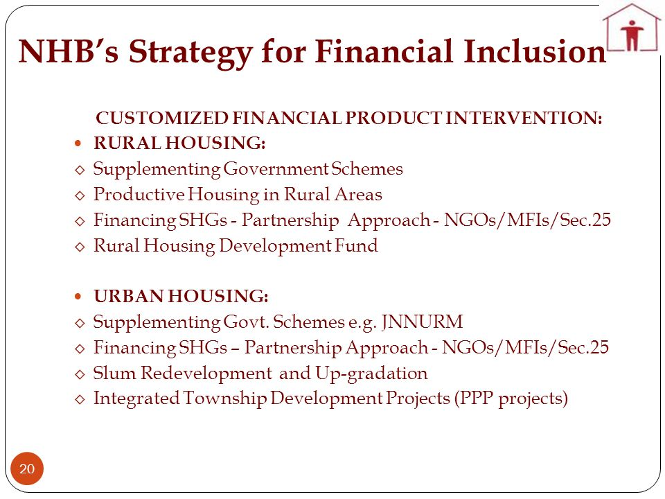 NHB's Strategy for Financial Inclusion
