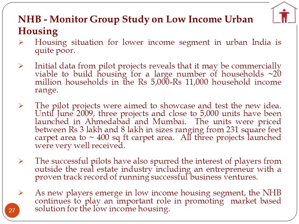 NHB - Monitor Group Study on Low Income Urban Housing