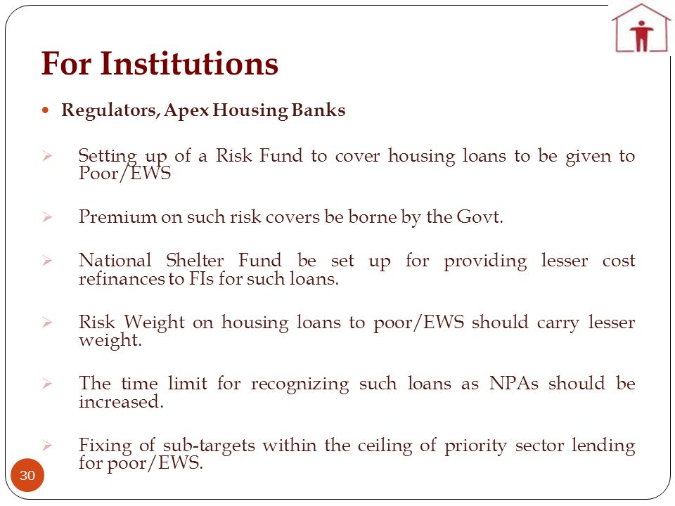 For Institutions Regulators, Apex Housing Banks
