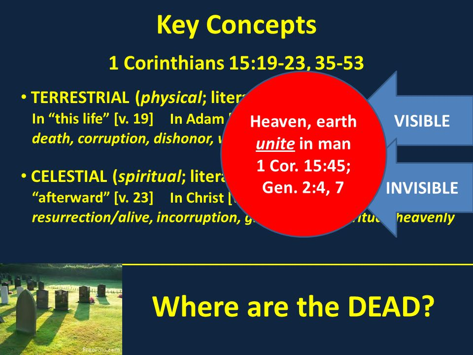 Where are the DEAD Key Concepts 1 Corinthians 15:19-23, 35-53