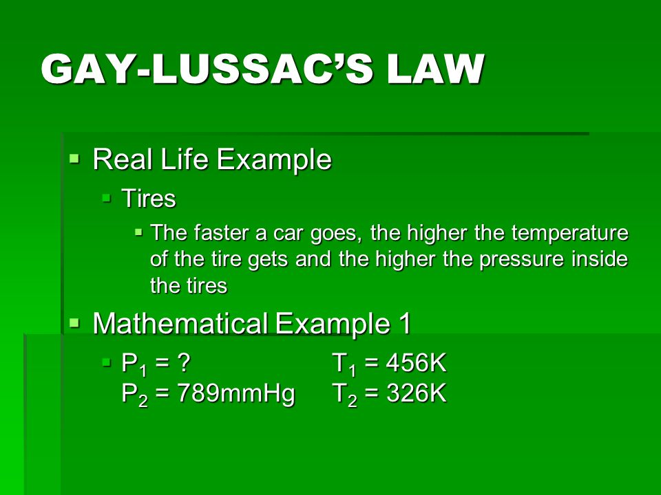 example of gay lussacs law