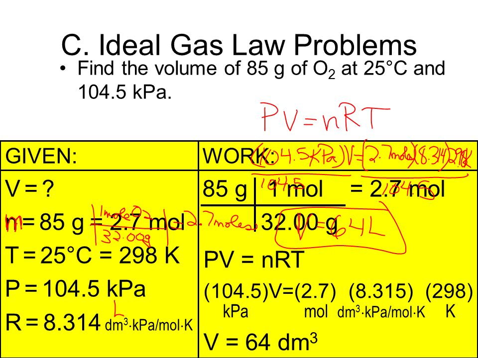 ideal gas law 2) let's set up two ideal gas law equations: p 1 v 1 = n 1 rt 1 this equation will use the 2035 g amount of h 2 as well as the 1015 atm, 500 l, and the -21176 °c (converted to kelvin, which i will do in a moment.
