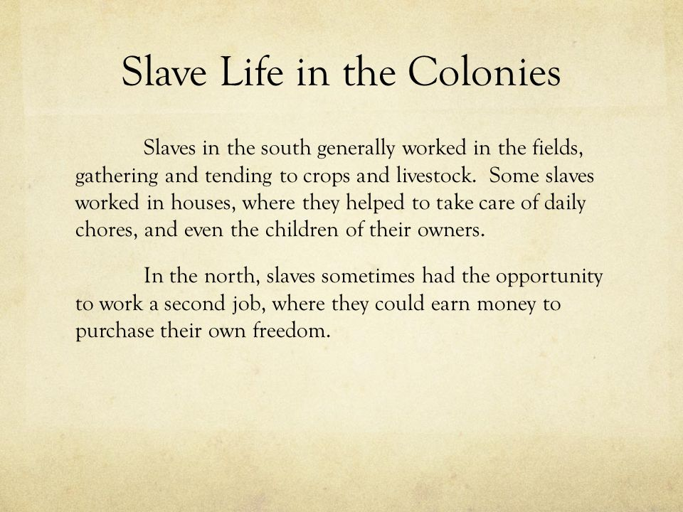 Slave Life in the Colonies