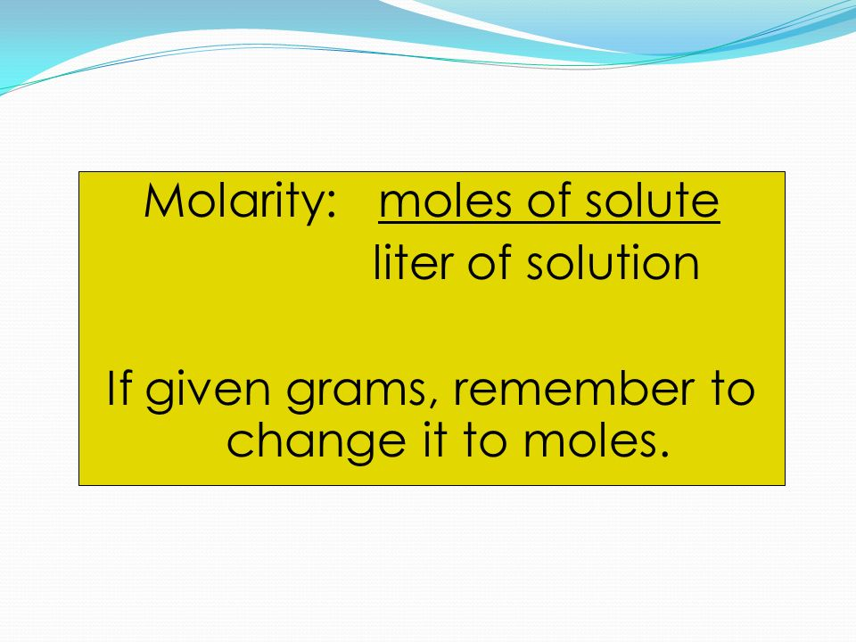 how to find moles when given liters