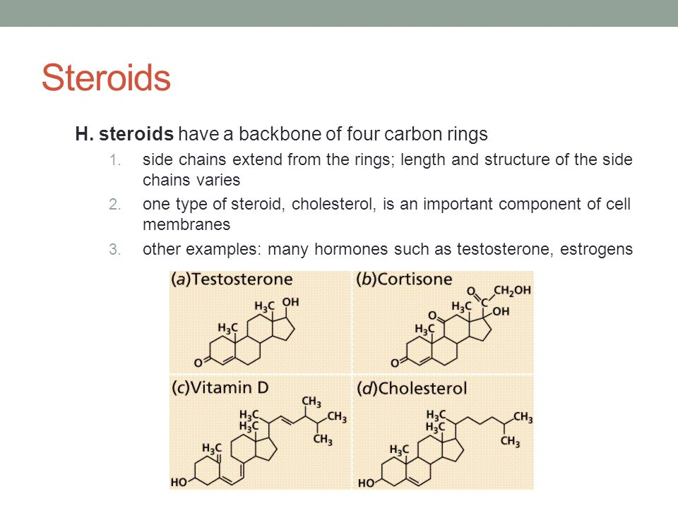 Steroids H. steroids have a backbone of four carbon rings