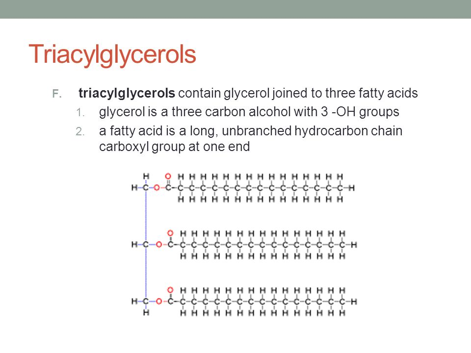 Triacylglycerols triacylglycerols contain glycerol joined to three fatty acids. glycerol is a three carbon alcohol with 3 -OH groups.