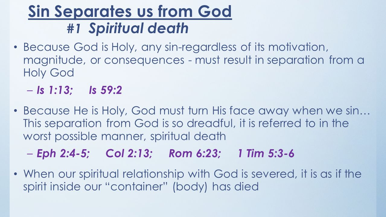 Sin Separates us from God #1 Spiritual death