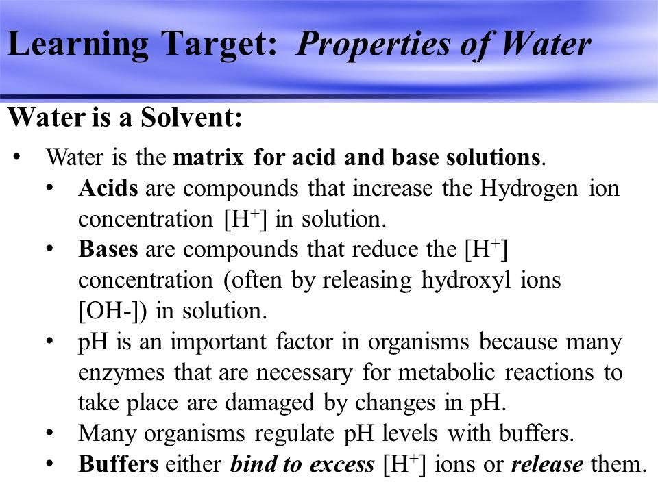 Learning Target: Properties of Water