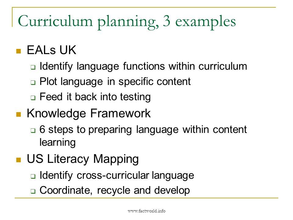Curriculum planning, 3 examples