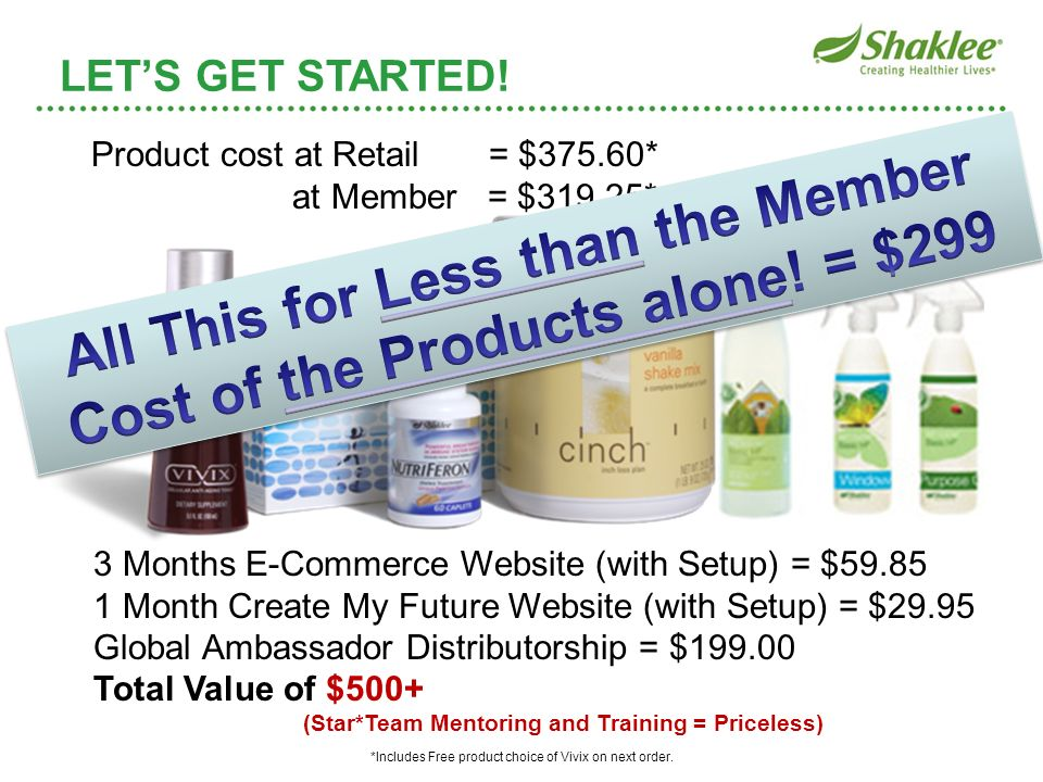 All This for Less than the Member Cost of the Products alone! = $299