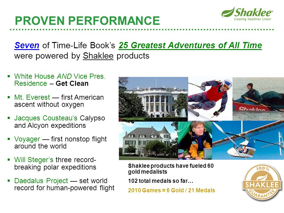 PROVEN PERFORMANCE PROVEN PERFORMANCE. Seven of Time-Life Book's 25 Greatest Adventures of All Time were powered by Shaklee products.