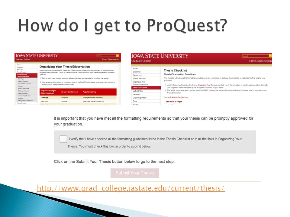 Information on Submitting Your Thesis/Dissertation to ProQuest