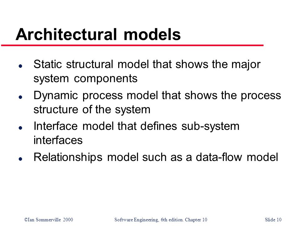 Architectural models Static structural model that shows the major system components.