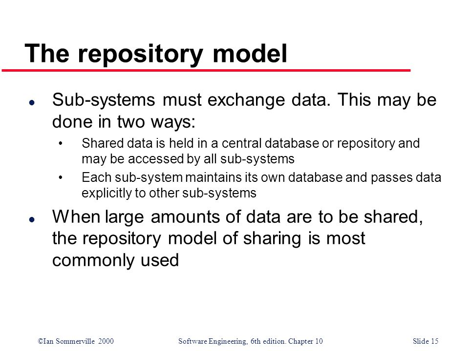 The repository model Sub-systems must exchange data. This may be done in two ways: