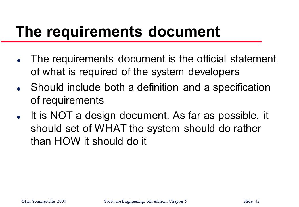 The requirements document
