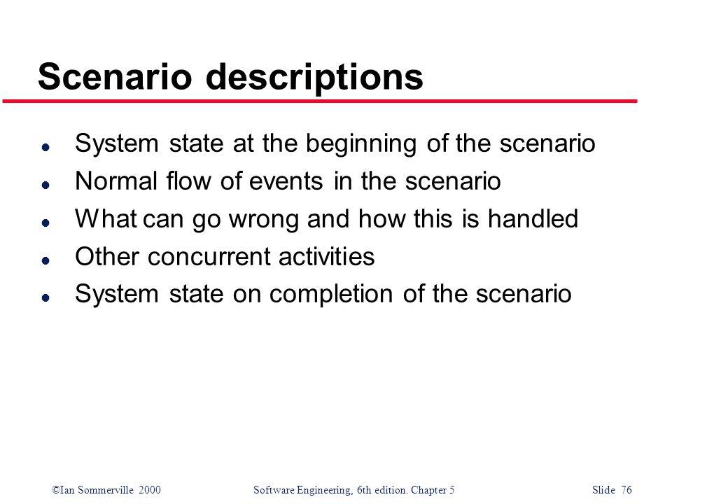 Scenario descriptions