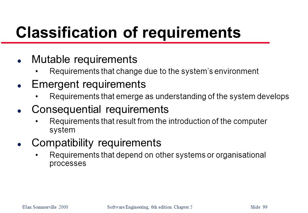 Classification of requirements