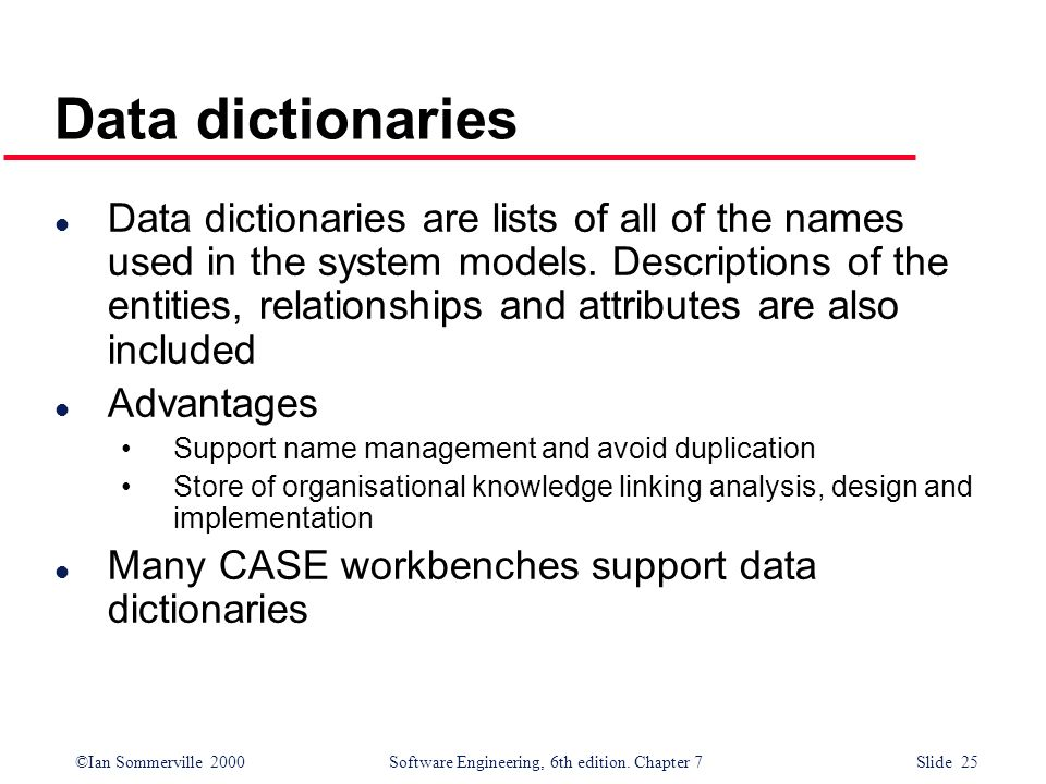 Data dictionaries