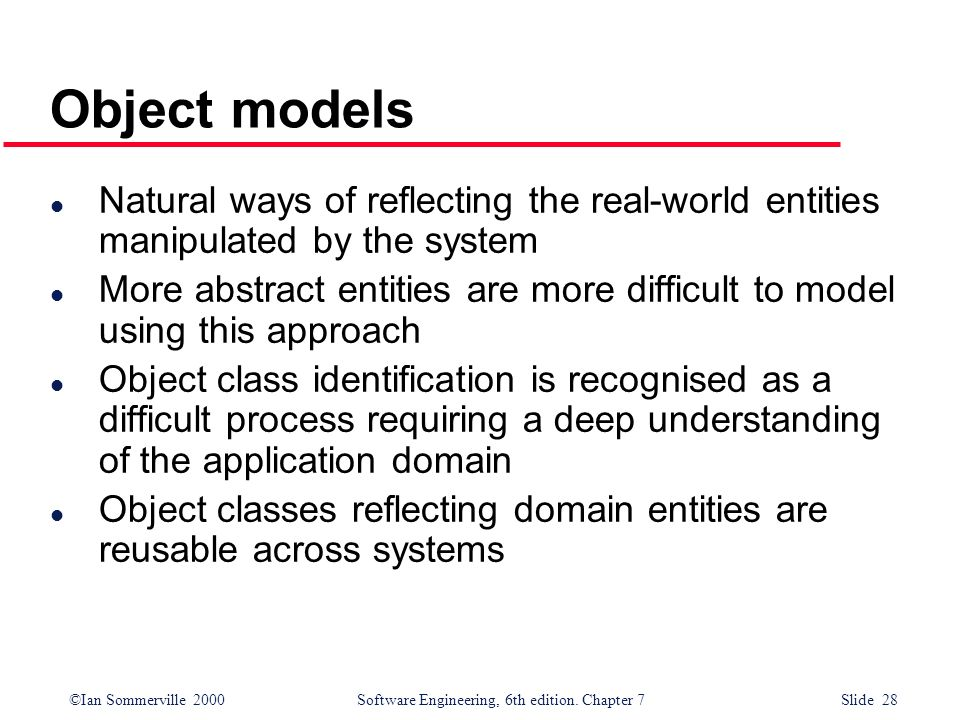 Object models Natural ways of reflecting the real-world entities manipulated by the system.