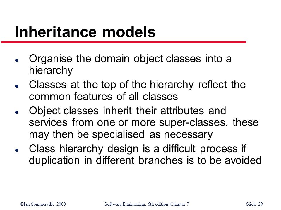 Inheritance models Organise the domain object classes into a hierarchy