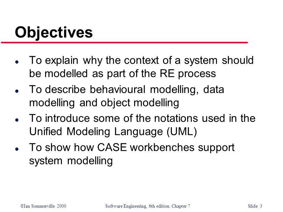 Objectives To explain why the context of a system should be modelled as part of the RE process.