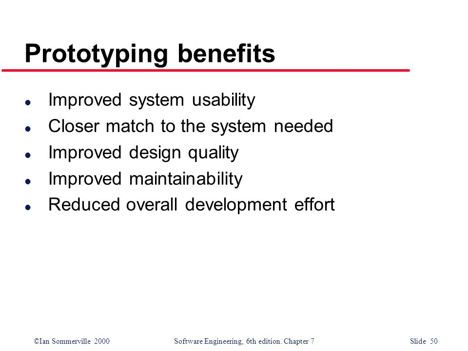 Prototyping benefits Improved system usability