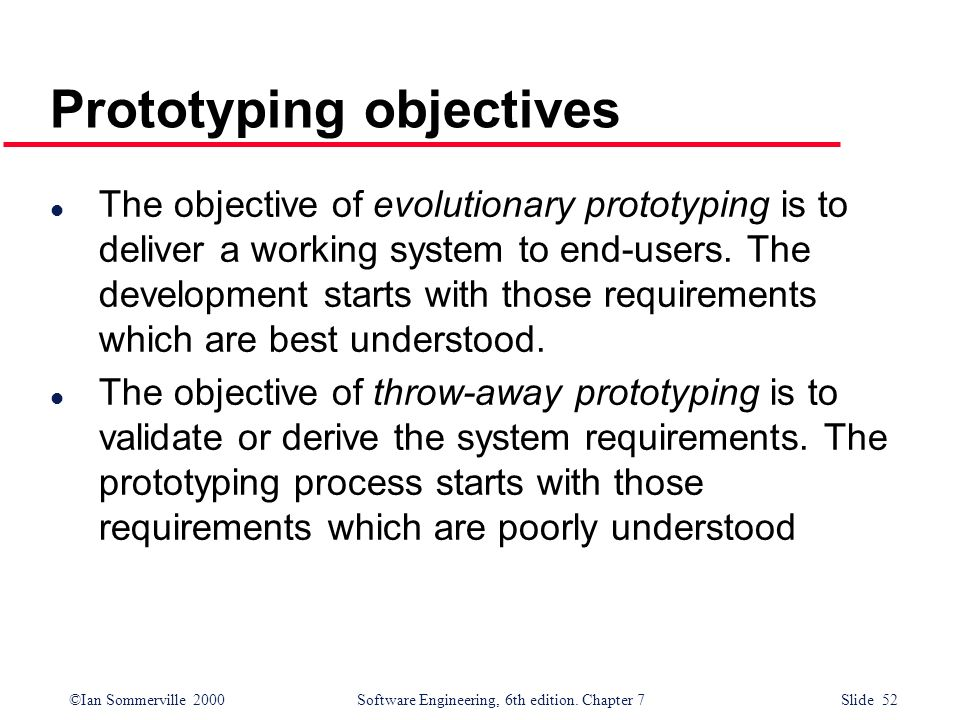 Prototyping objectives
