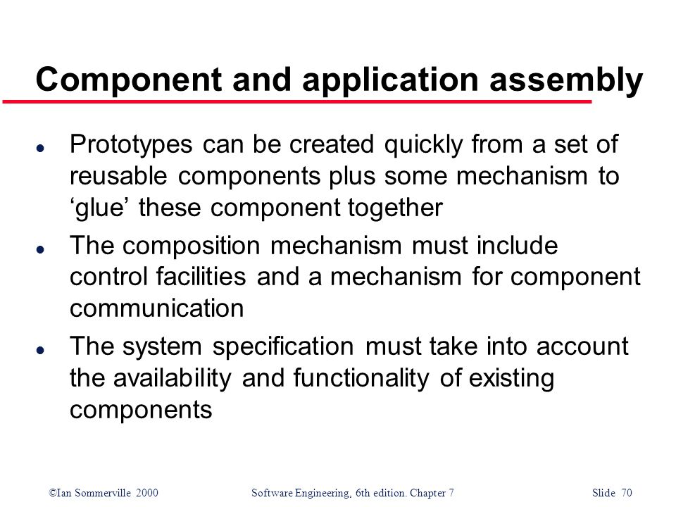 Component and application assembly