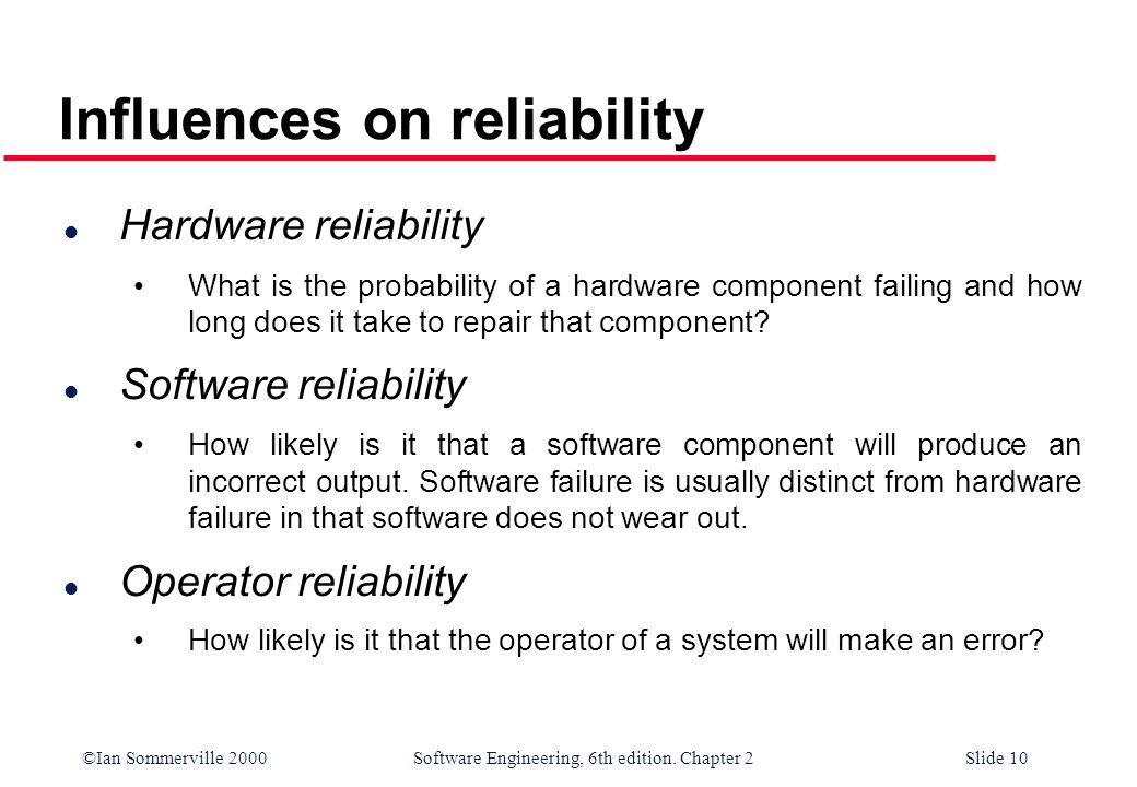 Influences on reliability