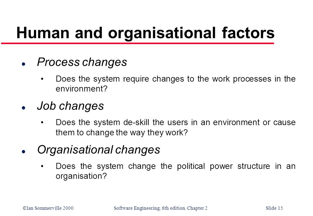 Human and organisational factors