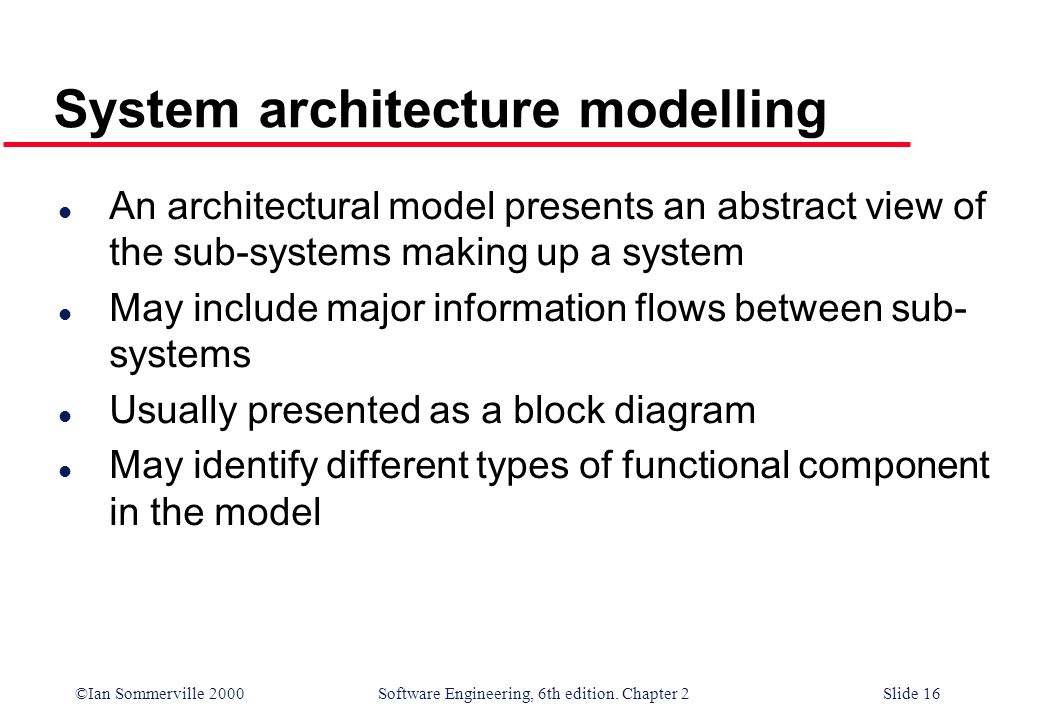 System architecture modelling