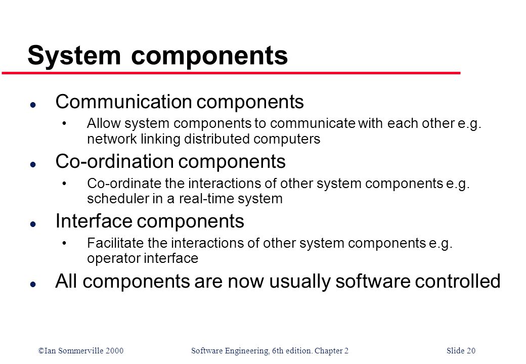 System components Communication components Co-ordination components