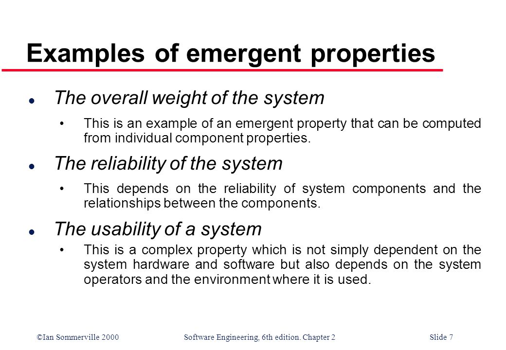 Examples of emergent properties